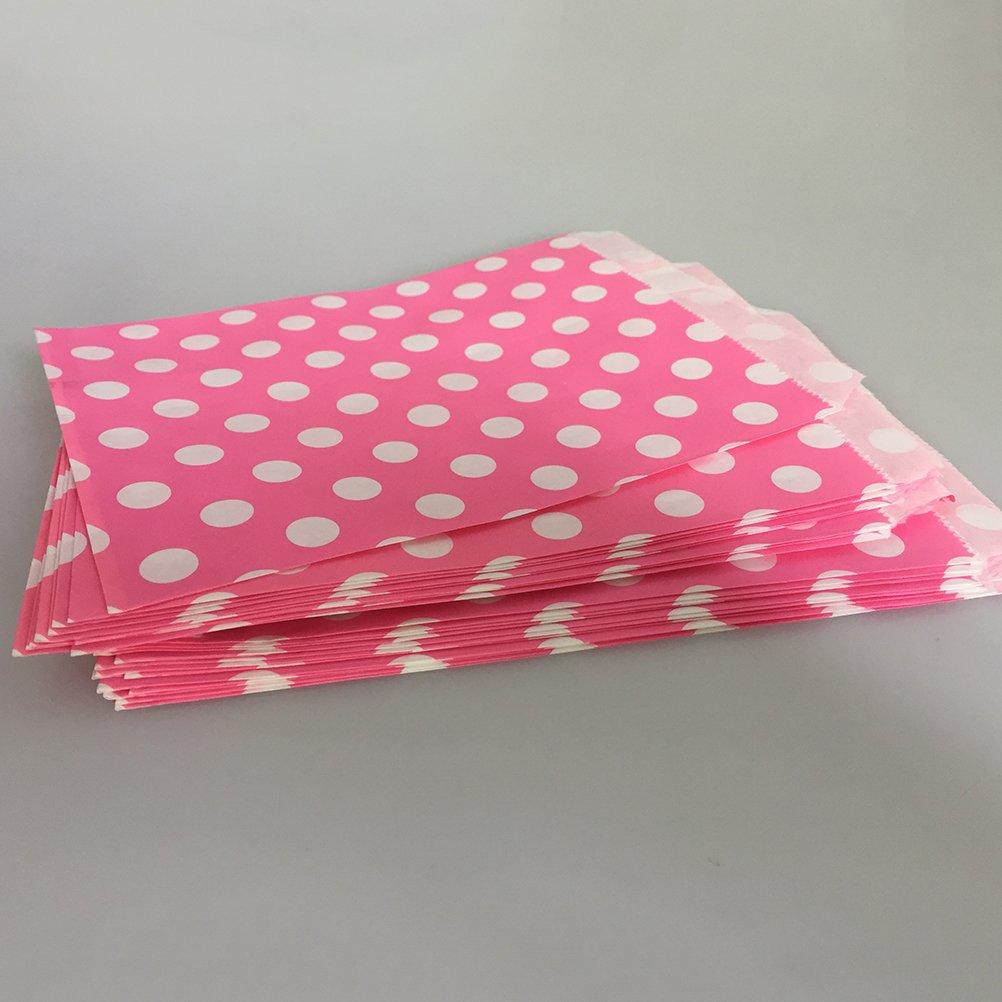 NUOLUX 125Pcs Bolsas de papel de lunares,5 x 7 Tratar bolsas Bolsas de bar de boda Bolsas Favor de fiesta, 5 colores