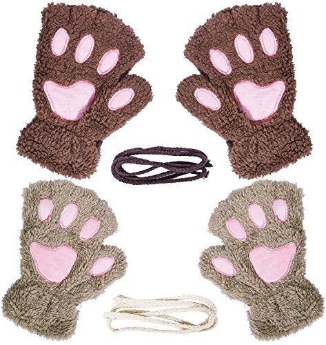 Loritta 2 Pairs Womens Fingerless Cat Paw Gloves Winter Faux Fur Cute Kitten -