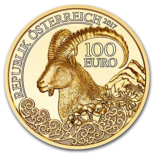 2017 AT Austria Proof Gold €100 Wildlife in our Sights (Alpine Ibex) Gold Brilliant Uncirculated