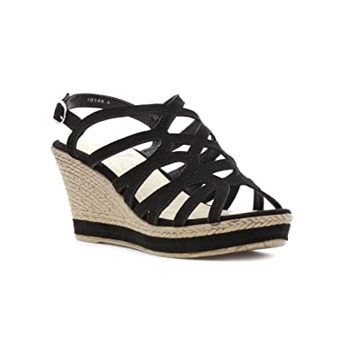 32e1a1540a Lilley Womens Strappy High Wedge Sandal in Black - Size 7 UK - Black