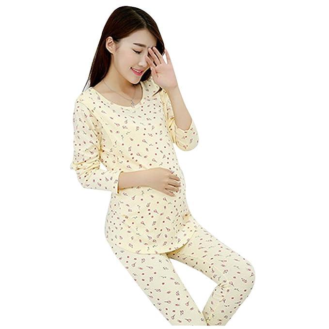 Aimeart Pijama Hecho de Algodon para el Embarazo y Lactancia, Caramelo Amarillo, (EU