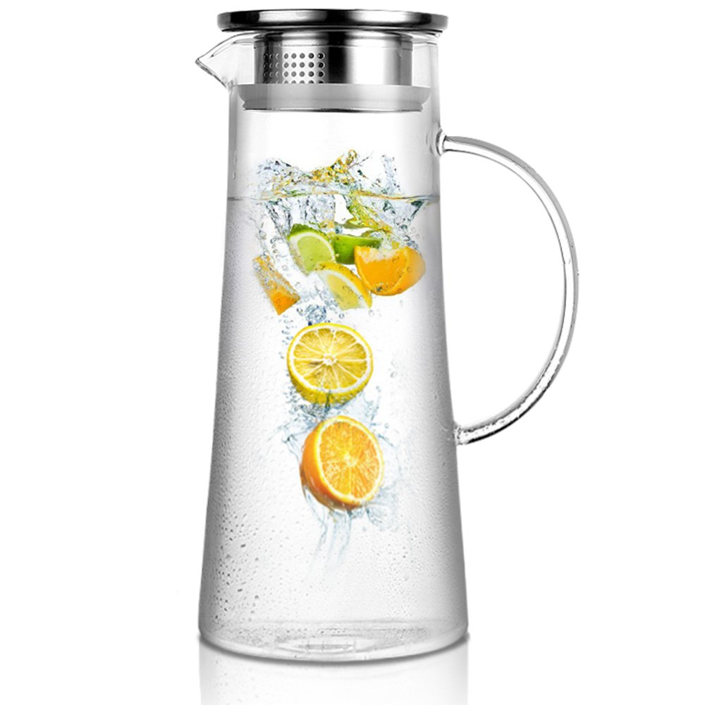 Artcome 1.5 Liter / 52 Oz Hand Made Glass Water Pitcher with Stainless Steel Strainer Lid