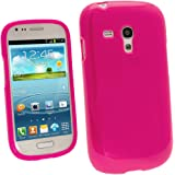 iGadgitz Hot Pink Glossy Durable Crystal Gel Skin (TPU) Case Cover for Samsung Galaxy S3 III Mini I8190 Android Smartphone Cell Phone + Screen Protector