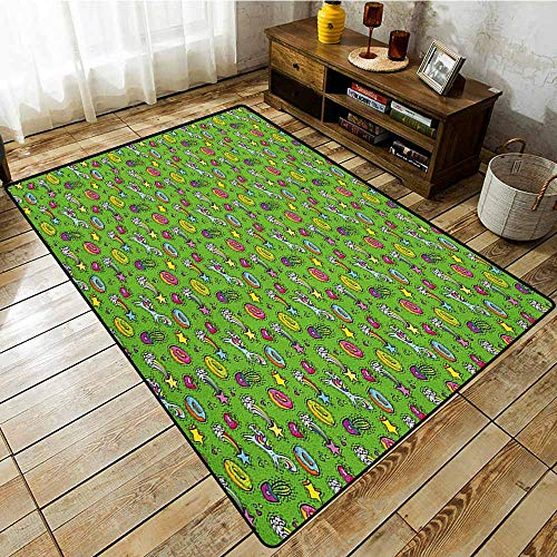 Classroom Rug,Cactus,Unicorns with Plants and Food Donuts Strawberries Heart Shooting Stars Cartoon Style,Extra Large Rug -