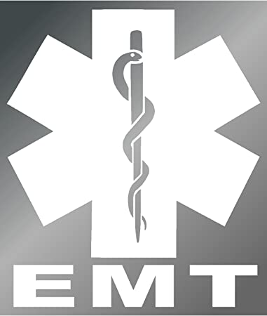 Sassy Stickers Emt Star Of Life 5 White Sticker Decal