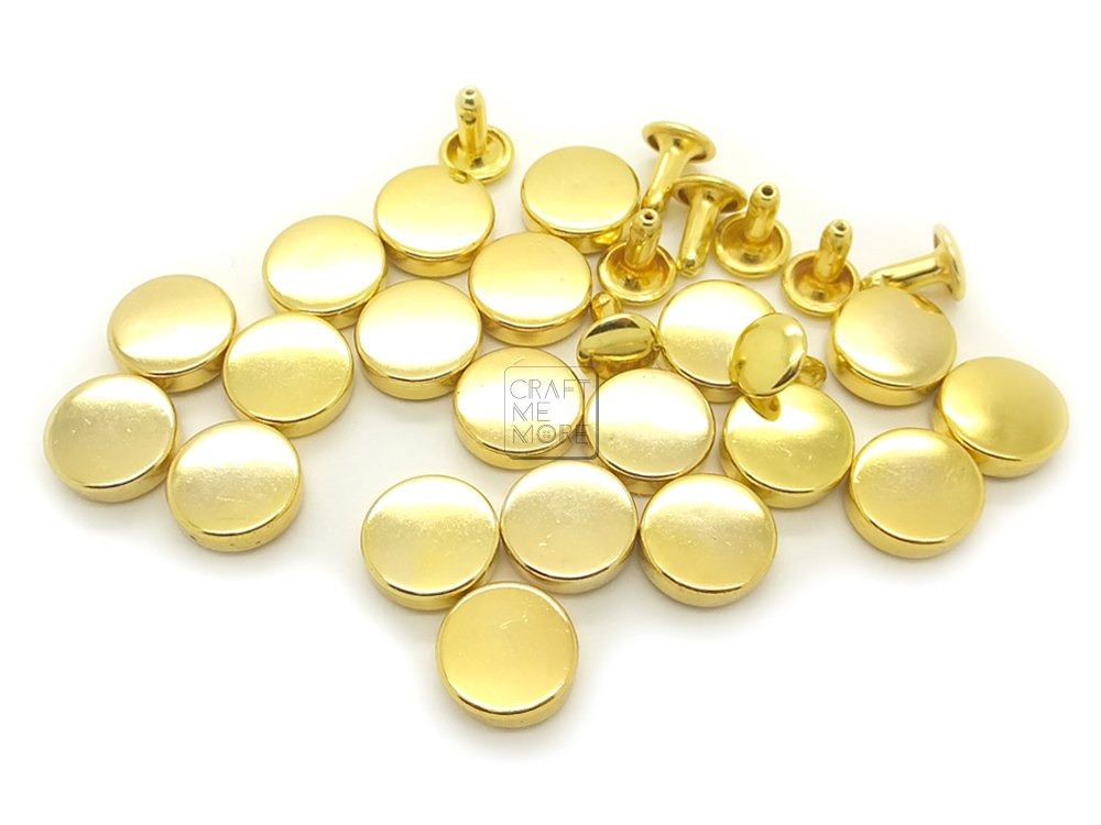 100sets Brass Material Double Cap Rivets Studs for Leather Crafts Size 5-12mm