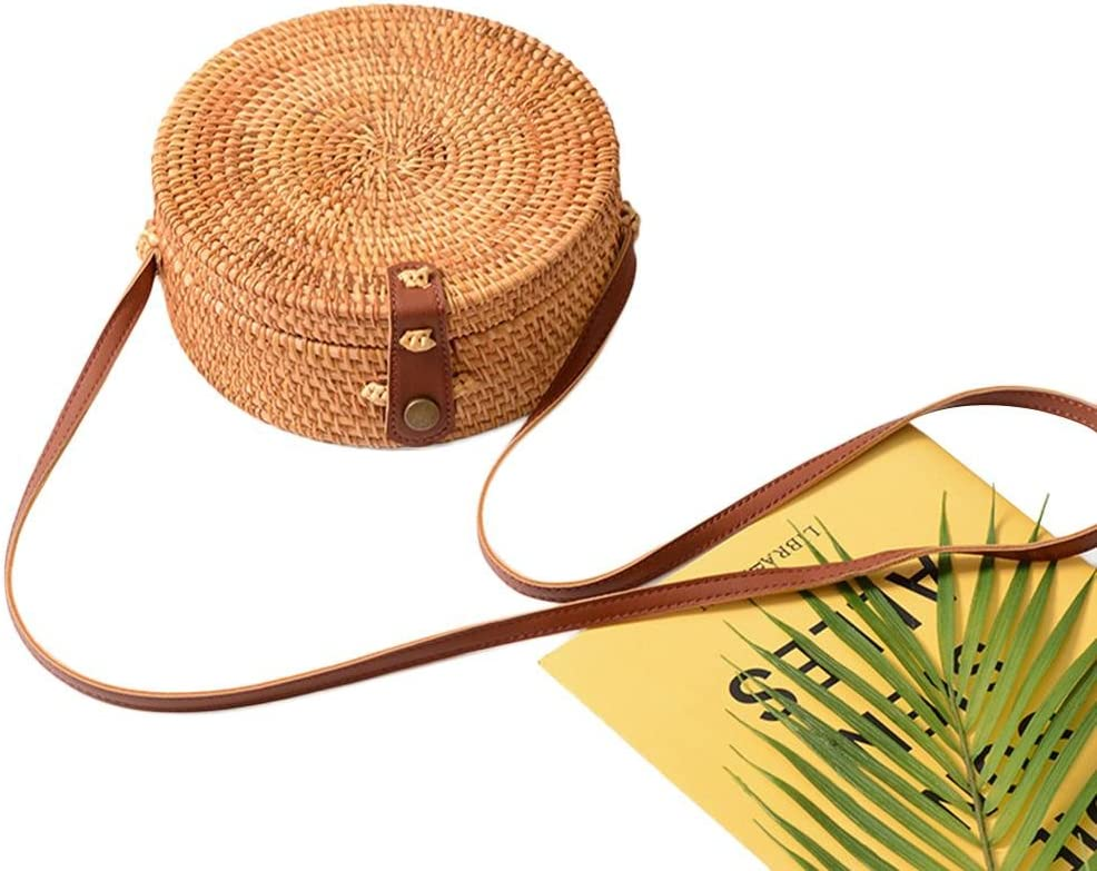 Evenlyao Round Rattan Straw Bag,Round Ladies Vintage Straw Woven Bag,Beach Bag Home Storage Bag For Women Suitable For Storage Beach Bags Gifts Etc
