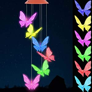 Color Changing Butterfly Wind Chimes Outdoor Decoration ,Waterproof Mobile Romantic Windchime Light, LED Solar Butterfly Wind Chime for Home, Festival, Patio, Night Garden Decor, Mother's Day Gift