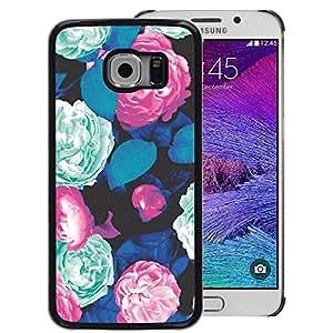 A-type Arte & diseño plástico duro Fundas Cover Cubre Hard Case Cover para Samsung Galaxy S6 EDGE (NOT S6) (Begonia Mint Green Floral Vintage Retro)