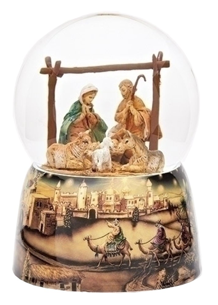 Fontanini Holy Family with Animals Italian Musical Glass 100mm Snow Globe 59086