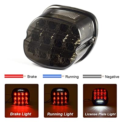 PBYMT LED Tail Light Smoked Rear Taillight Brake Running Lamp License Plate Light Compatible for Harley Softail Sportster Road King Electra Glide Fat Boy 1999-2020: Automotive