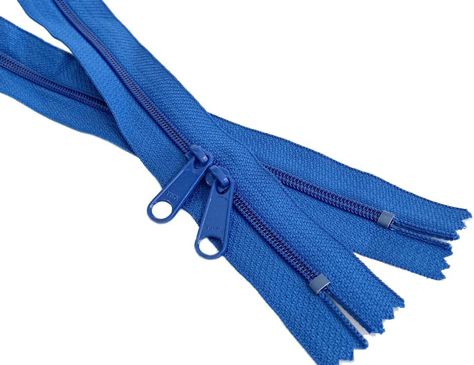 4.5mm YKK Zipper with Double Pull Purse or Handbag Zippers Head to Head Sliders Made in USA 30 Inches - 5 Zippers, Assorted Colors