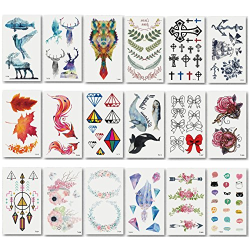 Different Pattern Fashion and colorful Temporary Tattoo Transfer Stickers for Adult & Boys & Girls, Long Time Lasting Body Sticker(20pcs)