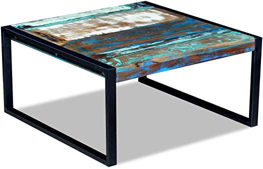 Festnight Reclaimed Wood Square Coffee Side Table Solid