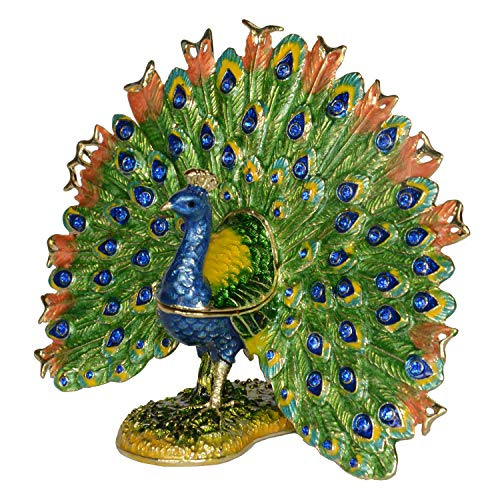 (Jiaheyou Peacock Trinket Jewelry Box Figurine Collectible Ring Storage Gift for Girl Peacock Decoration)