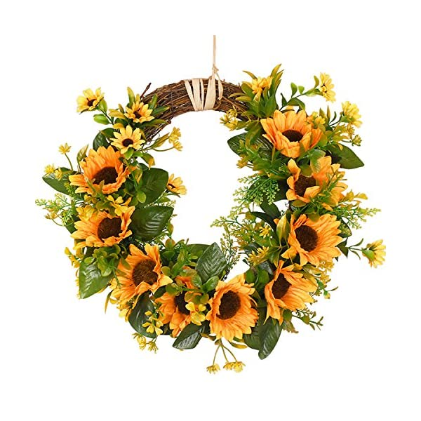 Dolicer Artificial Sunflower Wreath Silk Sunflower Wreath Flower Wreath with Yellow Sunflower and Green Leaves Sunflowers Flowers Greenery Wreath for Wedding Party Indoor Outdoor Home Decor, 13.8″