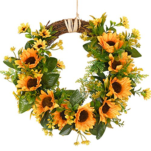 Artificial Sunflower Wreath Flower Wreath with Yellow Sunflower and Green Leaves for Front Door Indoor or Outdoor Wall Wedding Home Decoration by Sunm boutique
