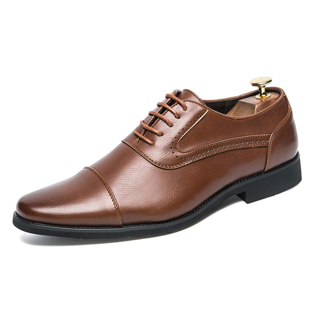Brown SRY-shoes Men's Simple Oxfords Classic Modern Round Captoe Lace up shoes
