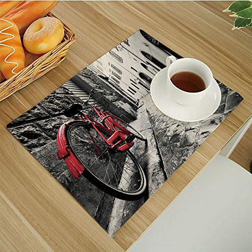(BESSIROPDE Colour Print Placemats Set,Dining Table,Heat-Resistant Table Mats,17.5