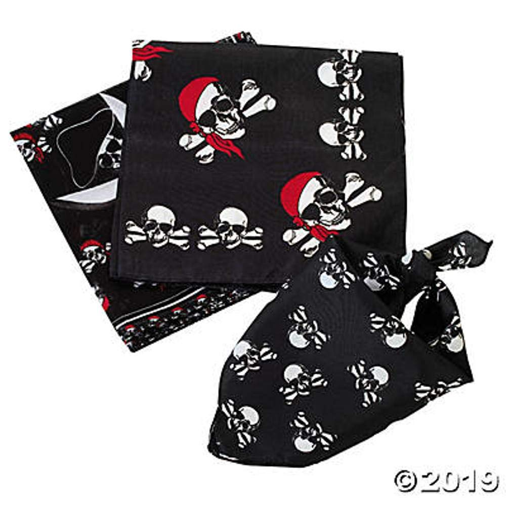 24 Assorted Pirate Theme Bandanas for Birthday Party Favors / Costume / Headbands by FX