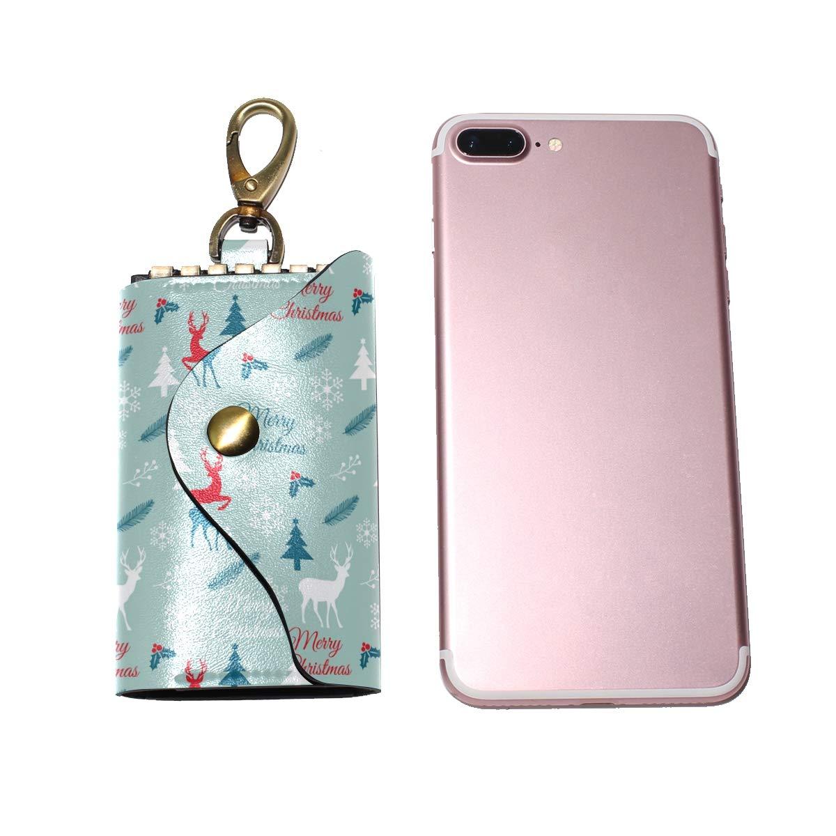 KEAKIA Christmas Pattern Leather Key Case Wallets Tri-fold Key Holder Keychains with 6 Hooks 2 Slot Snap Closure for Men Women