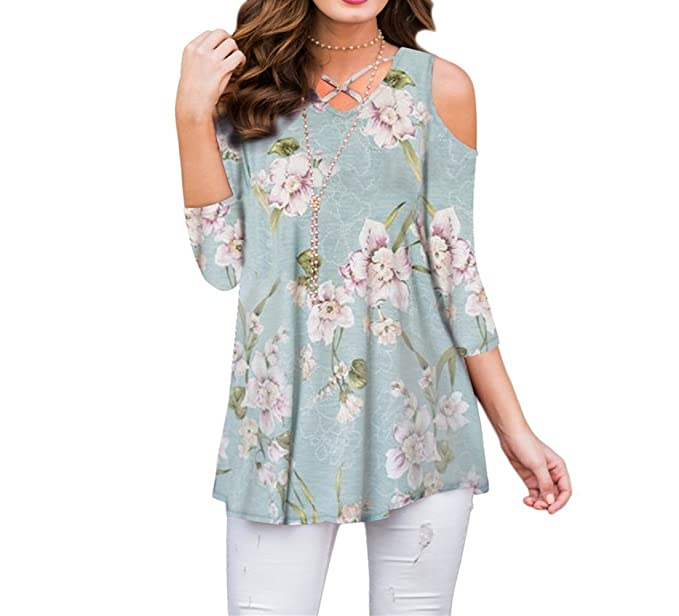 85624ddb12a937 ZRMY Women s Cold Shoulder Floral Print Blouse Short Sleeve T-Shirts Criss  Cross Tunic Tops