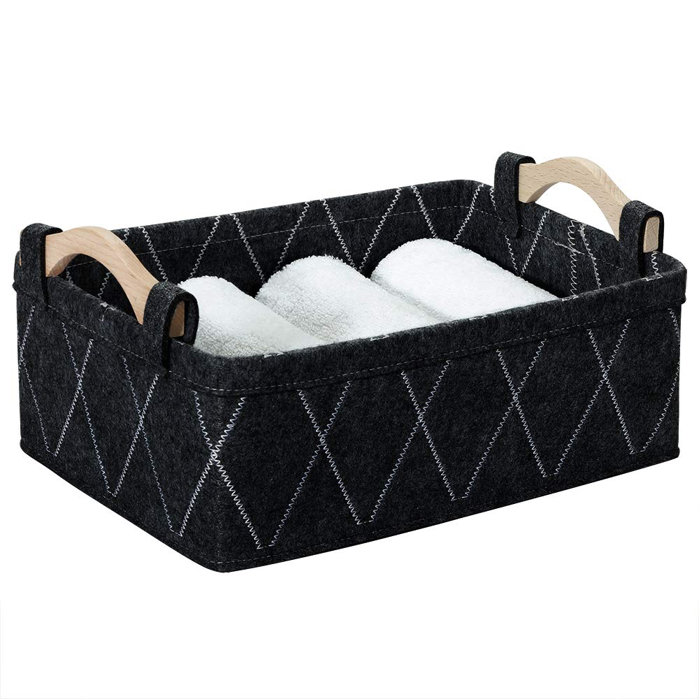 Gray Storage Baskets Bins Empty Gift Basket Foldable Fabric Storage Cubes for Desks Drawers Shelves Pantry Cabinet Bathroom Office Sturdy Home Decor