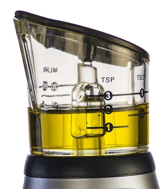 Amazon.com: PLUSH HOME Precise Olive Oil and Vinegar Glass Bottle Dispenser - Single Hand Operation Silicone Pressure Pump & Unique Dripless Pour Spout (11 ...