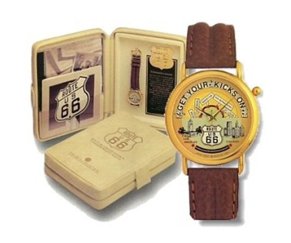 Route 66 Limited Edition Watch Has Revolving Cities on Route 66 from the Song ''Get Your Kicks on Route 66'' With CD ''A Conversation With Bobby Troup''