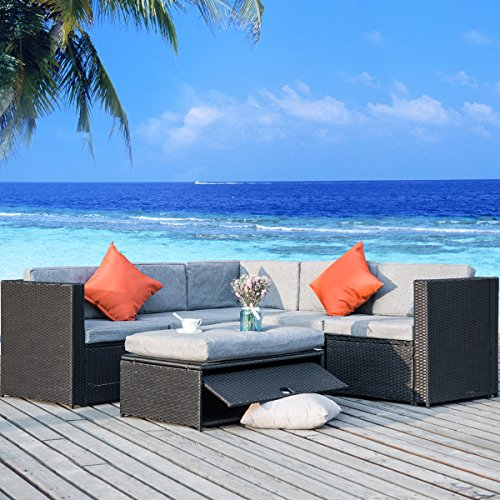 Merax 4 Piece Outdoor Rattan Patio Furniture Set Cushioned Sectional Garden Sofa