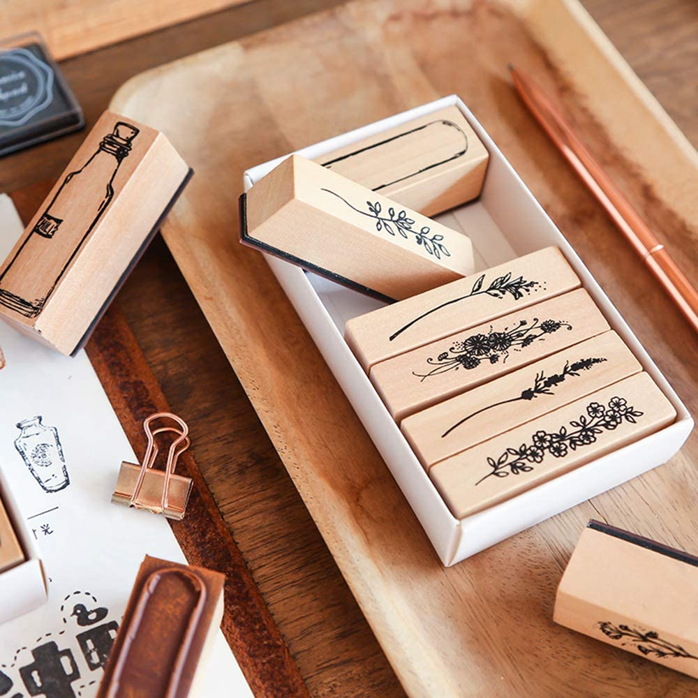 Dizdkizd 20 Pieces Vintage Wooden Rubber Stamps Letters Diary and Craft Scrapbooking Plant /& Flowery Decorative Mounted Rubber Stamp Set for DIY Craft