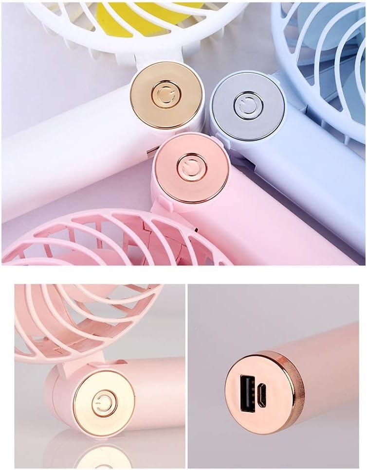 Mini Portable Cooling Fan Handheld USB Fan Mini Charging Fan Portable Folding Rotating Personal Fan Color : White