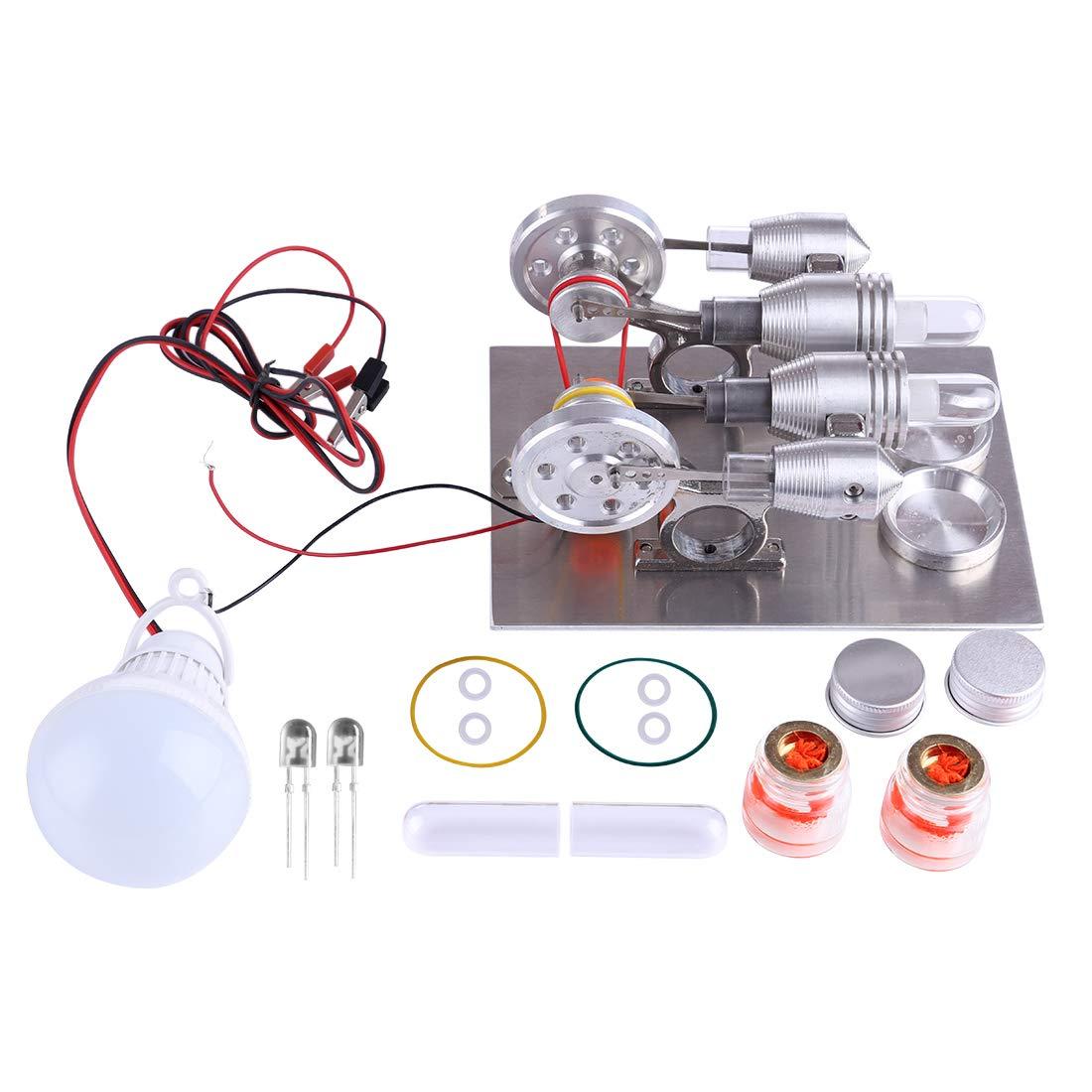 de moda MRKE Motor Stirling, 2 2 2 Cilindro, Baja Temperatura, con Generador y LED, Stirling Engine Model Kit Física Ciencia Experimentar Enseñanza Juguete  nuevo listado