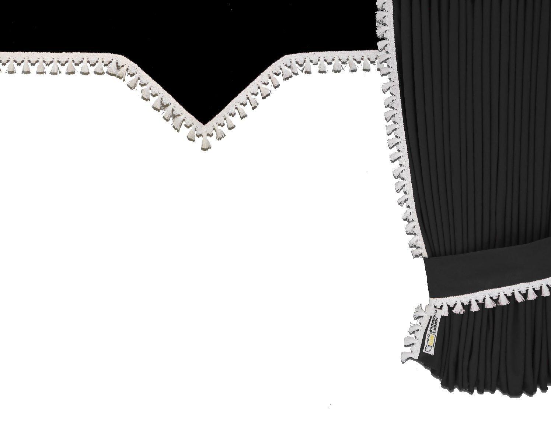 Gardinenset schwarz weiß Tunnelgardinen-Set für LKW-Innenraum 5-teilig