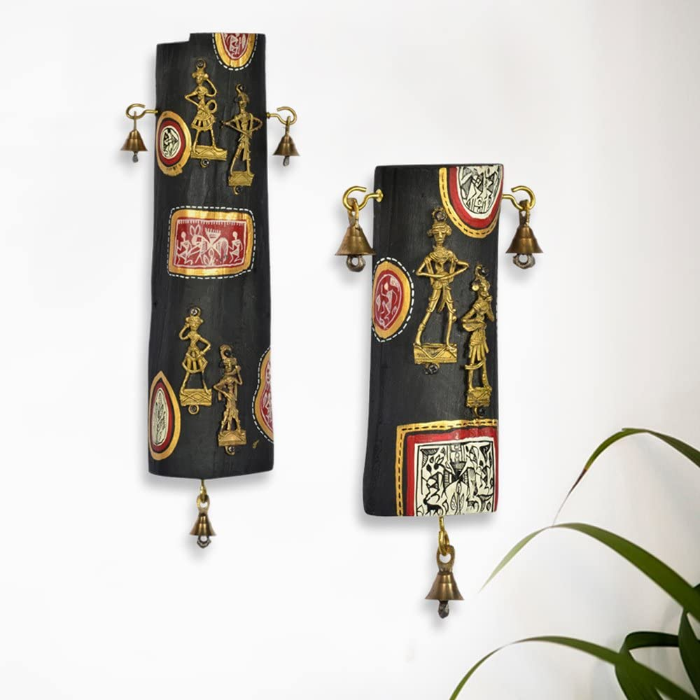 ExclusiveLane Dhokra & Warli Handpainted Natural Wooden Log Wall Décor Set -Indian Decorative Items for Home Gift Item Wooden Wall Art Decor Decorative Shelves Vases Home Decor