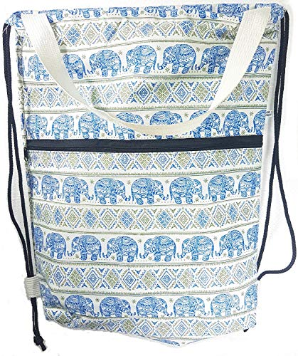 - MY HOPE Drawstring Backpack Canvas - Colorful of Elephant Sky Blue and Green Pattern with Front Zipper Compartment, 14 X 17 inch