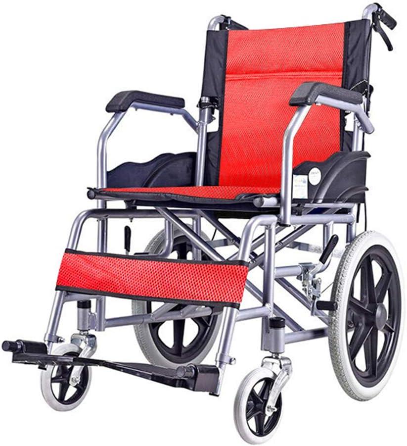 Sillas de ruedas asistidas y de transporte Silla de ruedas, carro de malla celular transpirable plegable, Ccooter de viaje para ancianos, neumáticos sólidos, con pedal y freno de mano, para adultos,