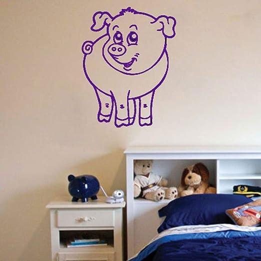 zhuziji Happy Cartoon Pig Vinilo Pegatinas de Pared Decoración ...