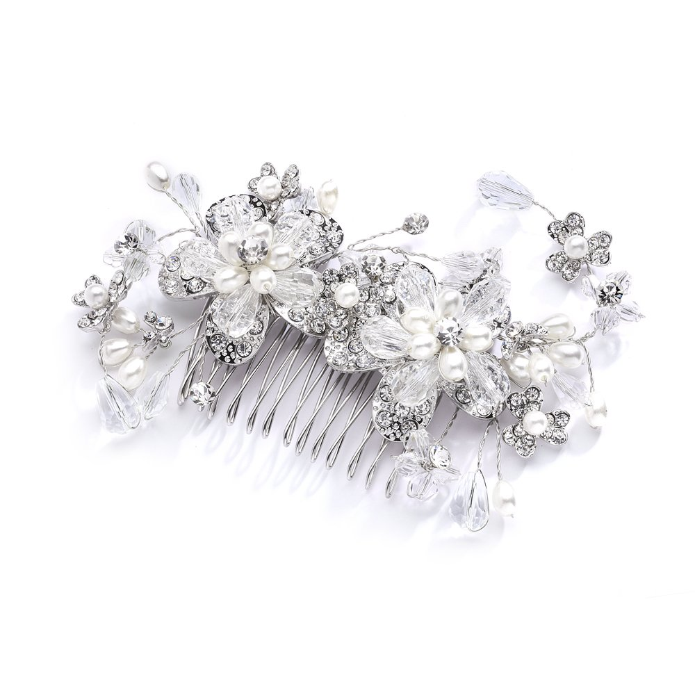 Mariell Vintage Wedding Bridal Hair Comb with Austrian Crystals, Light Ivory Pearls & Rhinestone Sprays