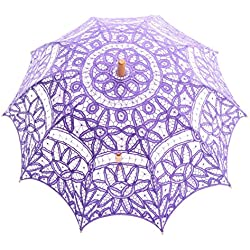 Topwedding Battenburg Lace Bridal Parasol Umbrella for Wedding Party Decoration, Pale Purple