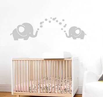 Great Boodecal Lovely Light Grey Elephant Blowing Bubbles Wall Decals For Kids  Bathroom Baby Nursery Environmental Removable Part 7