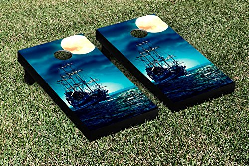 Pirate Ship Moon Cornhole Tailgate Toss, 24x48, Wood