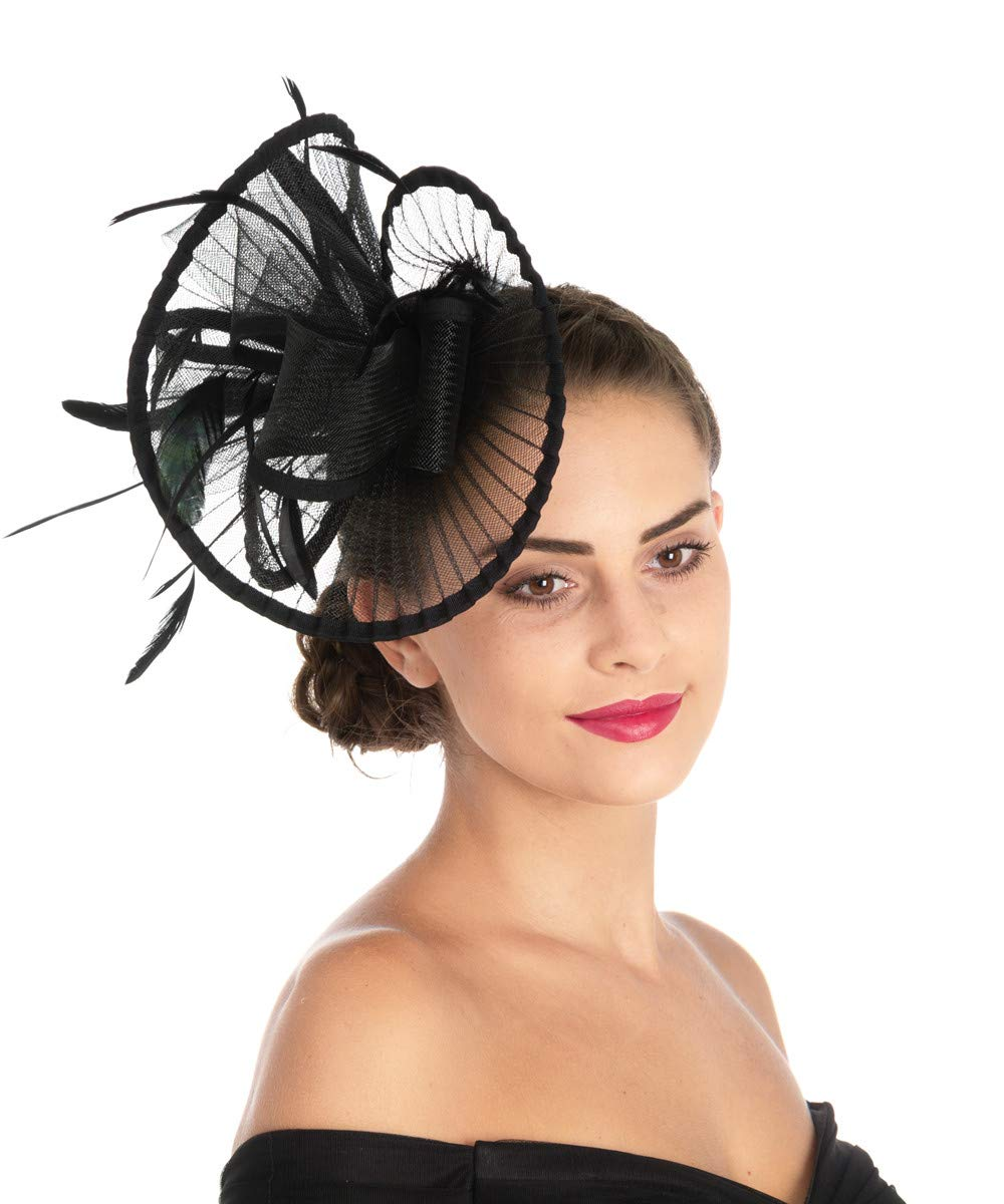Lucky Leaf Women Girl Fascinators Hair Clip Hairpin Hat Feather Cocktail Wedding Tea Party Hat (2-Black) by Lucky Leaf (Image #5)
