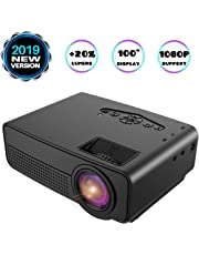 Projector, Mini Projector, Upgraded 2600 Lux Video Projector with 100 Inch 1080P Support, Upgraded Lamp Life, Supports HDMI AV USB TF Devices, Home Theater Projector