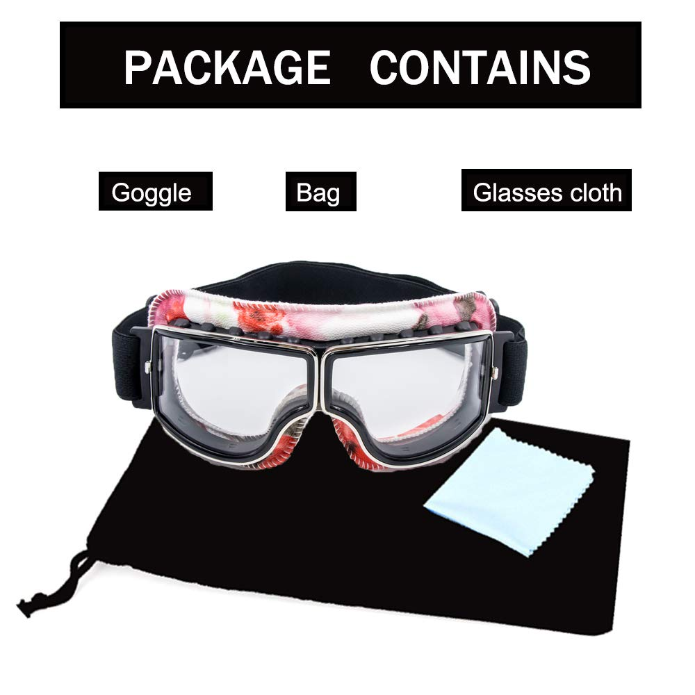 Cynemo Motorcycle Goggles Vintage Pilot Leather Riding Glasses Scooter ATV Off-Road Anti-Scratch Dust Proof Eyewear for Men Women Adult