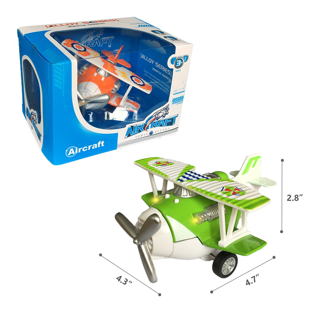 Joyfun Airplane Toys for Boys 3 Year Old Die-cast Toy Plane Pull-Back Toy Vehicles Cake Topper Aircraft with Lights /& Sounds Kids Christmas Birthday Gifts JF-Plane Blue