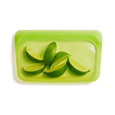 Stasher 100% Silicone Reusable Food Bag, Snack Storage Size, 4.5-inch (9.9-ounce), Lime