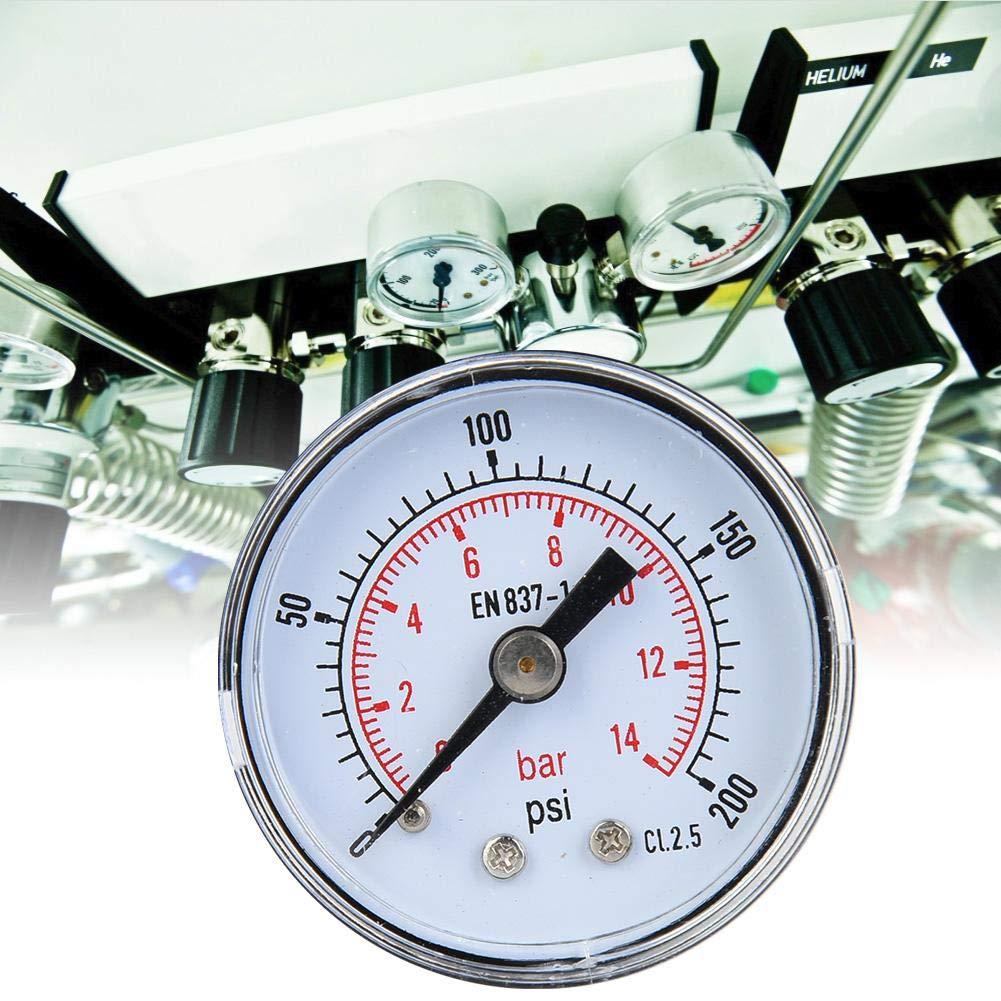 0-200psi,0-14bar /Öl und Wasser 1//8 Zoll BSPT Axialmanometer f/ür Luft Mechanisches Manometer