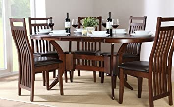 Pleasing Extending Dark Wood Dining Table 4 6 Chairs Set Brown Onthecornerstone Fun Painted Chair Ideas Images Onthecornerstoneorg