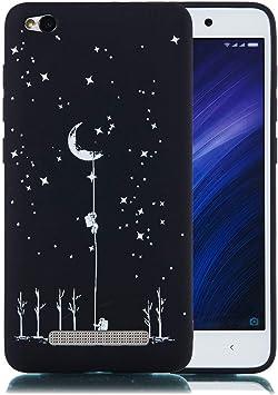 JUNHENG Funda Xiaomi Redmi 4A Carcasa Silicona Tema Negro ...